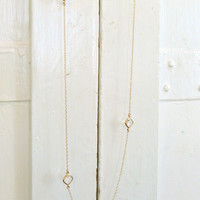 Long Gold Crystal Necklace Layering necklace Long necklace Gold Crystal Glass Necklace