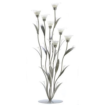 Iron Silver Calla Lily 32 Inch Candle Holder