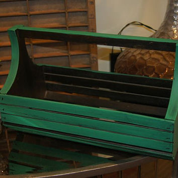 Vintage Box / Wooden Box / Home Decor / Shabby Chic / Vintage / Cottage Chic / Wooden Tote / Green / Wooden Tray