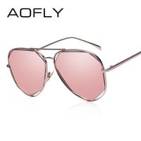 AOFLY New Metal Frame Women Fashion Sunglasses Geometry Double-Bridge Personality Brand Design Sunglasses Mirror Glasses UV400