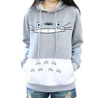 Spring 2016 Women Grey Animal Anime Totoro Hoodie Cute Cartoon Sweatshirts Hoodies Japanese Harajuku Sweatshirt Kawaii Clothes