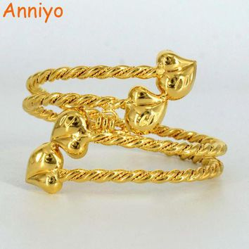 ONETOW Anniyo Gold Color Ethiopian Bangle for Women Heart Dubai Bracelet Jewelry African Arab Accessories Gifts #061006