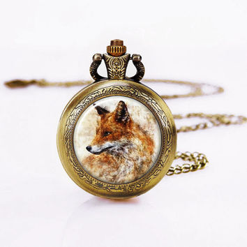 "Fox Pocket Watch / Women Watch Necklace/Vintage Bronzen /Fox painting Necklace,1"" Dome Glass"