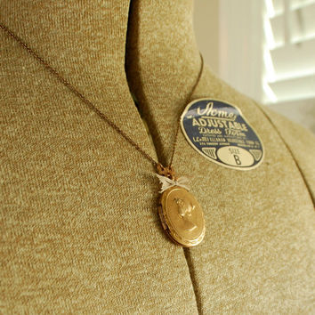 elinor dashwood - jane austen inspired vintage brass repousse cameo locket with silk ribbon for her