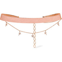 Diane Kordas - Metallic textured-leather, 18-karat rose gold and diamond choker