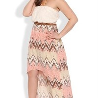 Plus Size Strapless High Low Dress with Tribal Chevron Skirt