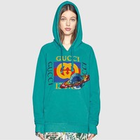 """""""Gucci"""" Women Casual Fashion Letter Print  Pattern Sequin Long Sleeve Hooded Sweater Tops"""