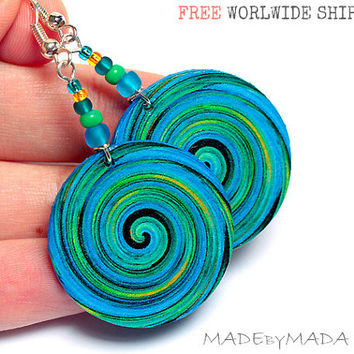 Blue and Green Swirl Earrings, Free Shipping, 2-sided Medium size 3cm Ø, gift for her under 20