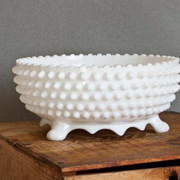 Large Fenton Hobnail Footed Bowl, Milk Glass Scalloped Edge Wedding Centerpiece. 3 Toed Fruit Bowl, Vintage Pre-1970 Fenton Glassware