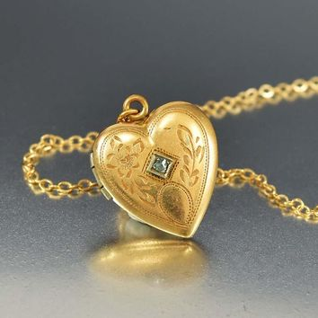 Old Cut Diamond Engraved Gold Heart Locket Necklace