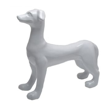 Attractive Ceramic Standing Dog Figurine, White -Sagebrook Home