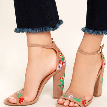 Suri Taupe Embroidered Ankle Strap Heels