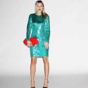 Vintage 1980s Green Sequin Party Dress