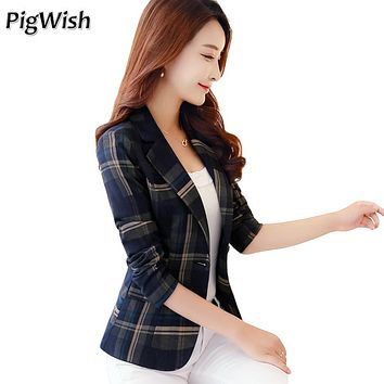 Blazer Feminin 2017 Women Blue Red Plaid Blazer Ol Style Slim Blazers And Jackets One Button Suit Girl Office Jacket Elegant 3xl