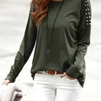 Army Green Cotton Round Neck Women Punk style Long Sleeve Rivet Slim Shirt One Size FZ73629-25agr = 1827663236