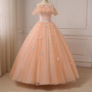 Romantic Evening Dresses Short Sleeves Boat Neck Ball Gown Tulle Flowers Evening Gowns Women Formal Dresses Lace-up Back