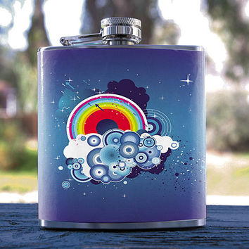 Blue Clouds Rainbow, Best Hip Flask 6oz, Music Speaker Style, for Gifts, Weddings, Men/Women, Bridesmaid, Groomsmen, Sorority & more!