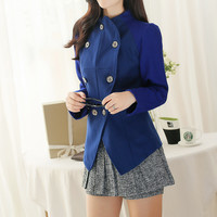 Blue Long Sleeve Coat with Buttons