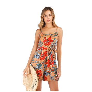 Printed hanging bandwidth truffle back dress shorts 963# spot
