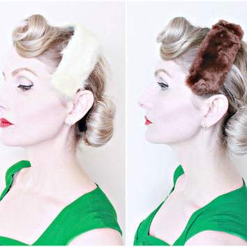 1950s Vintage Headbands / 50s Fur Fascinators / Lot of 2 / Cream and Brown