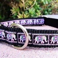 3/4 Quick Snap Dog Collar  Pink Elephant by fairytailcollars
