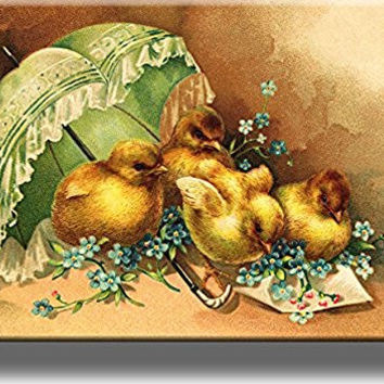 Easter Chicks under Umbrella Picture on Stretched Canvas, Wall Art Decor, Ready to Hang!