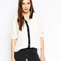 Ganni Long Sleeve Contrast Print Shirt