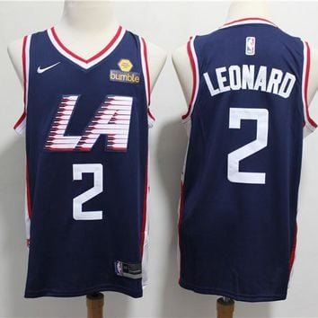 2019-2020 Los Angeles Clippers 2 Kawhi Leonard Navy City Edition Jersey