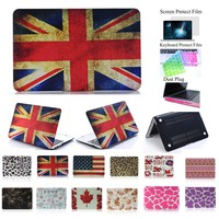 "HongRD(TM)9 Fashion Patterns Available-4 in 1 Rainbow Rubberized Ultra Slim Light Weight Hard Crystal Shell Case Cover for Macbook Pro 13-inch 13"" A1278 +LCD HD Clear Screen Protector+One Keyboard Skin+One Set Dust Plug (UK Flag)"