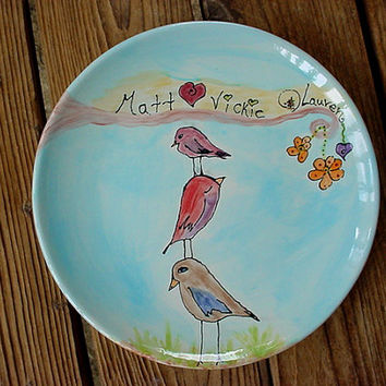 Custom family plate personalized and birds in your choice of colors