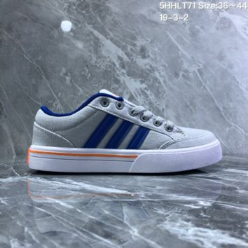 DCCK2 A733 Adidas NEO campus opens mouth to laugh canvas board shoe Gray Blue