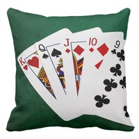 Poker Hands - Straight - King To Nine Throw Pillow