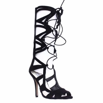 Chelsea & Zoe Carass Knee High Gladiator Sandals, Black, 8.5 US