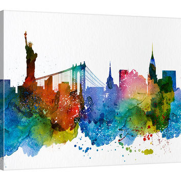 City Wall Art - Art Print, Watercolor New York Canvas  Print - New York Art Print - New York Skyline Silhouettes Watercolor, Framed Canvas