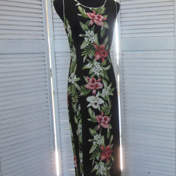 Vintage Hawaiian Dress Long Floral Maxi Dress Coral Orchid Print Black Two Palms Made in Hawaii Womens Medium Resort Wear