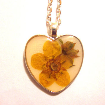 Real Buttercup Heart Resin  Pendant Necklace