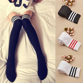 Qlychee Fashion Cute Lolita Over-knee Wide Striped Cotton Sexy Stockings Miku Cosplay Tights Thigh School Student Stockings
