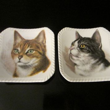 Royal Adderley Floral Bone China England Cats Portraits Decorative Trays