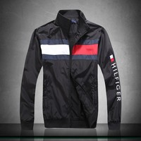Tommy Hilfiger zip stand collar windproof warm breathable jacket Black