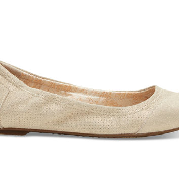 TOMS Metallic Suede Women's Ballet Flats Natural