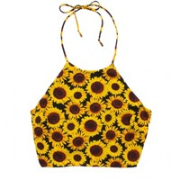 YELLOW SUNFLOWER CROP TANK TOP SHEER - INSANE JUNGLE