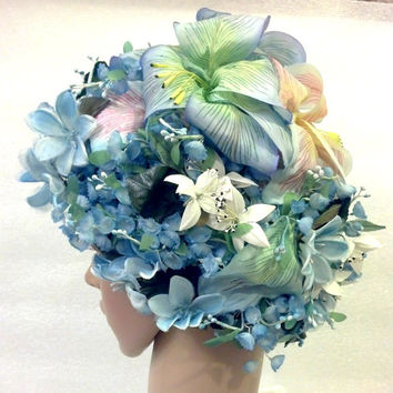 Christian Dior Floral Chapeaux Blue 1960s Collectible Hat Designer Vintage Ladies Hat Derby  Easter Hat Church Hat Tea Party Spring Hat