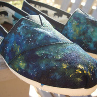 spacy depths-hand painted on TOMS shoes-made to order