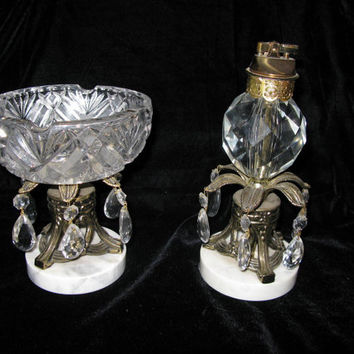 Cigarette Lighter Ashtray, Crystal Smoking Set, Free Standing Table Lighter Circa 30s 40s Smoking Accessories