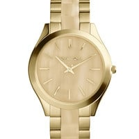 Michael Kors Mid-Size Golden/Horn Stainless Steel Runway Three-Hand Watch