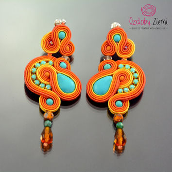 Long Turquoise Orange Dangle Earrings, Long Dangle Soutache Earrings, Turquoise Earrings, Dangling Embroidered Earrings, Soutache Earrings