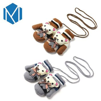 Boys Girls Stretchy Lanyard Cartoon Bear Warm Gloves Unisex Children Cute Mittens Winter Covered Full Finger Glove Kids Luvas