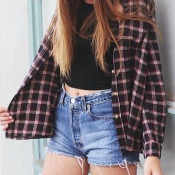 Sale - Mystery Hipster Vintage OUTFIT: High Waisted Shorts & Flannel Shirt
