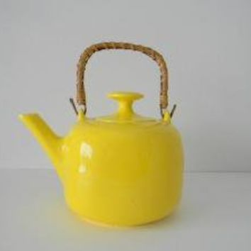 Vintage Yellow Ceramic Tea Kettle with rattan wood by MonkiVintage