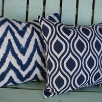 "Set of 2 18"" X 18"" navy blue, white modern Premier chevron diva slub nicole print cotton- Decorative pillow cover-throw pillow-accent pillow"